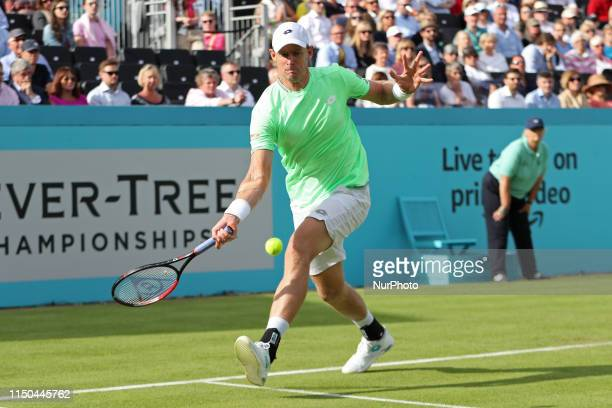 Kevin Anderson on his way to victory over Cameron Norrie during the Fever Tree Tennis Championships at the Queen's Club West Kensington on Monday...