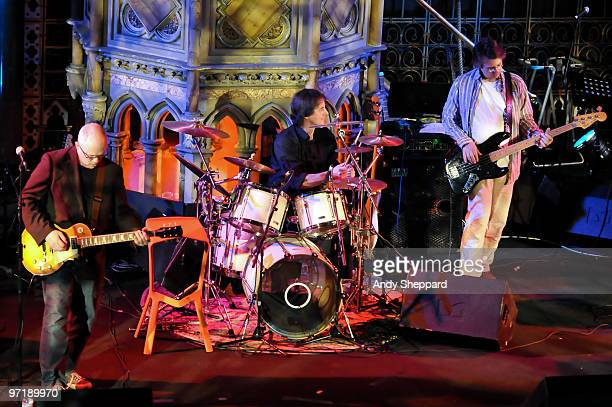Kevin Armstrong Justin Hildreth and Matthew Seligman perform on stage with Thomas Dolby and special guests at Union Chapel on February 28 2010 in...