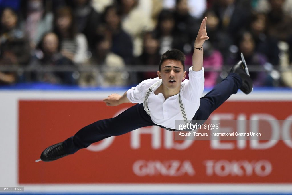 Kevin Aymoz of France competes in the Men free skating during the 2nd day of the ISU World Team Trophy 2017 on April 21, 2017 in Tokyo, Japan.