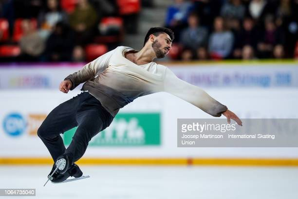 Kevin Aymoz of France competes in the Men's Free Skating during day 2 of the ISU Grand Prix of Figure Skating Internationaux de France at Polesud Ice...
