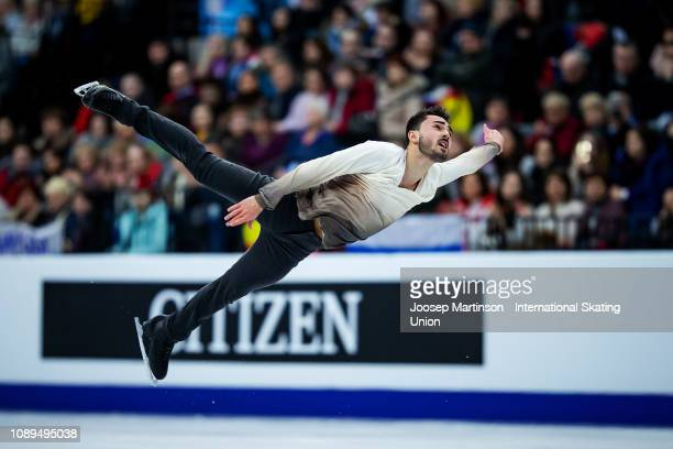 Kevin Aymoz of France competes in the Men's Free Skating during day four of the ISU European Figure Skating Championships at Minsk Arena on January...