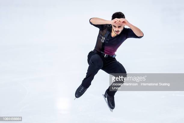 Kevin Aymoz of France competes in the Men's Short Program during day 1 of the ISU Grand Prix of Figure Skating Internationaux de France at Polesud...