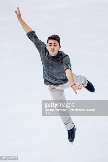 Kevin Aymoz of France competes in the Men's Short Program during day one of the ISU Grand Prix of Figure Skating at Polesud Ice Skating Rink on...