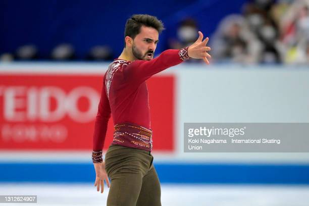 Kevin Aymoz of France finishes the Men's Single Short Program on day one of ISU World Team Trophy at Maruzen Intec Arena Osaka on April 15, 2021 in...