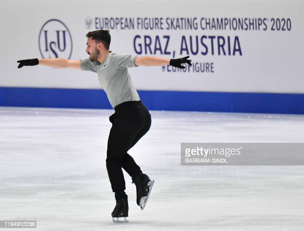 Kevin Aymoz of France performs during a training session one day ahead of the ISU European Figure Skating Championships on January 20 2020 in Graz...