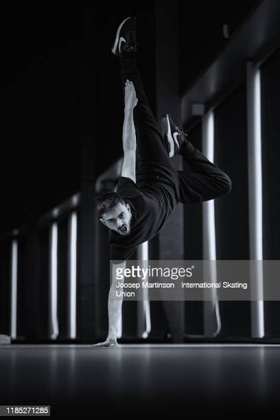 Kevin Aymoz of France poses for a photograph during day 3 of the ISU Grand Prix of Figure Skating Internationaux de France at Polesud Ice Skating...