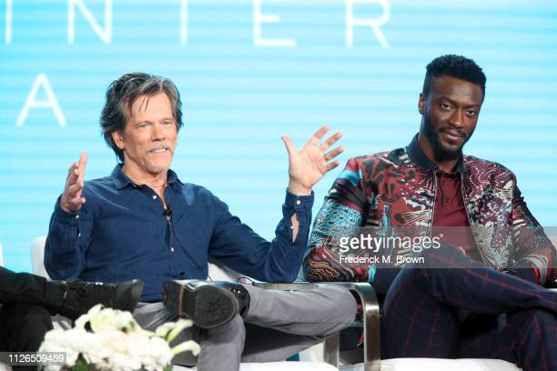 Kevin Bacon and Aldis Hodge of the television show 'City on a Hill' speak during the Showtime segment of the 2019 Winter Television Critics...