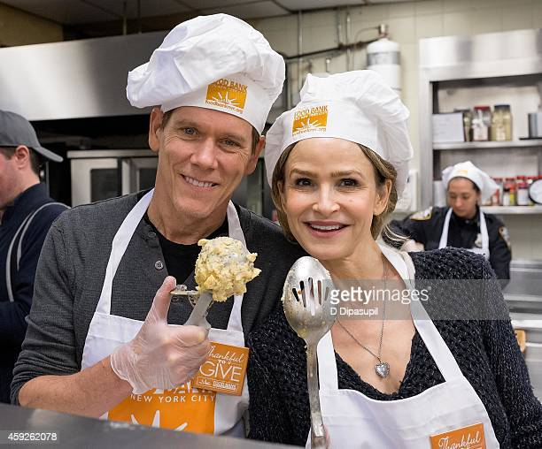 Kevin Bacon and wife Kyra Sedgwick serve holiday meals for New Yorkers in need during Food Bank For New York City's 'Thankful To Give' holiday...