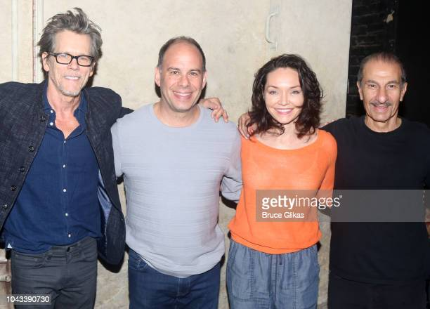 Kevin Bacon Andrew Polk Katrina Lenk and Sasson Gabay pose backstage at the hit musical 'The Bands Visit' on Broadway at The Barrymore Theater on...