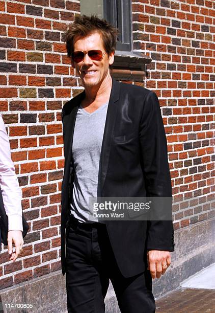 Kevin Bacon arrives for the Late Show With David Letterman at the Ed Sullivan Theater on May 25 2011 in New York City