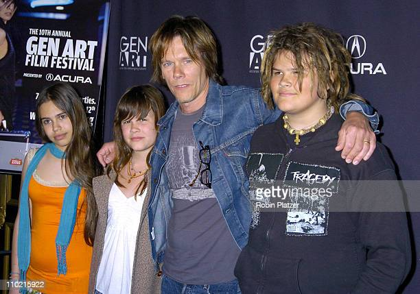 Kevin Bacon his children Sosie and Travis and friend Eugenia