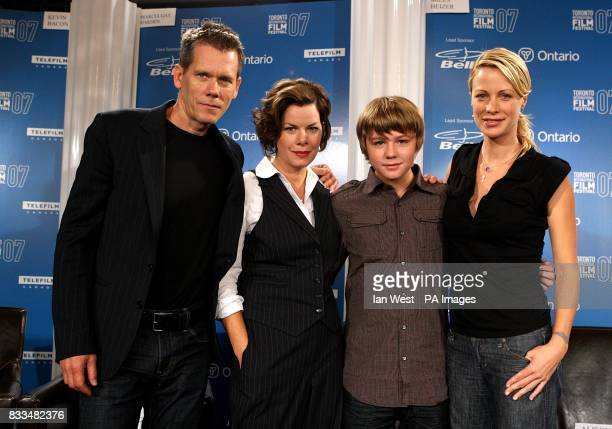 Kevin Bacon Marcia Gay Harden Miles Heizer and Alison Eastwood at the the 'Rails Ties' press conference during the Toronto International Film...