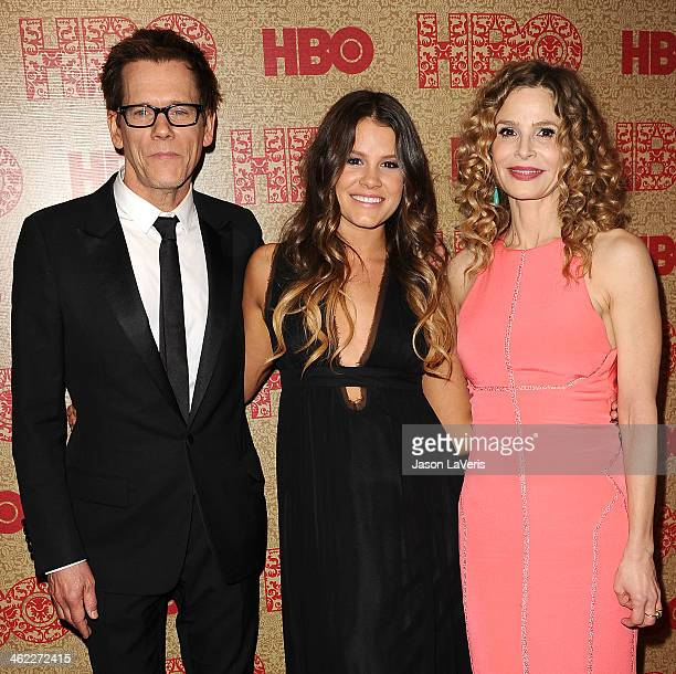 Kevin Bacon Sosie Bacon and Kyra Sedgwick attend HBO's Golden Globe Awards after party at Circa 55 Restaurant on January 12 2014 in Los Angeles...