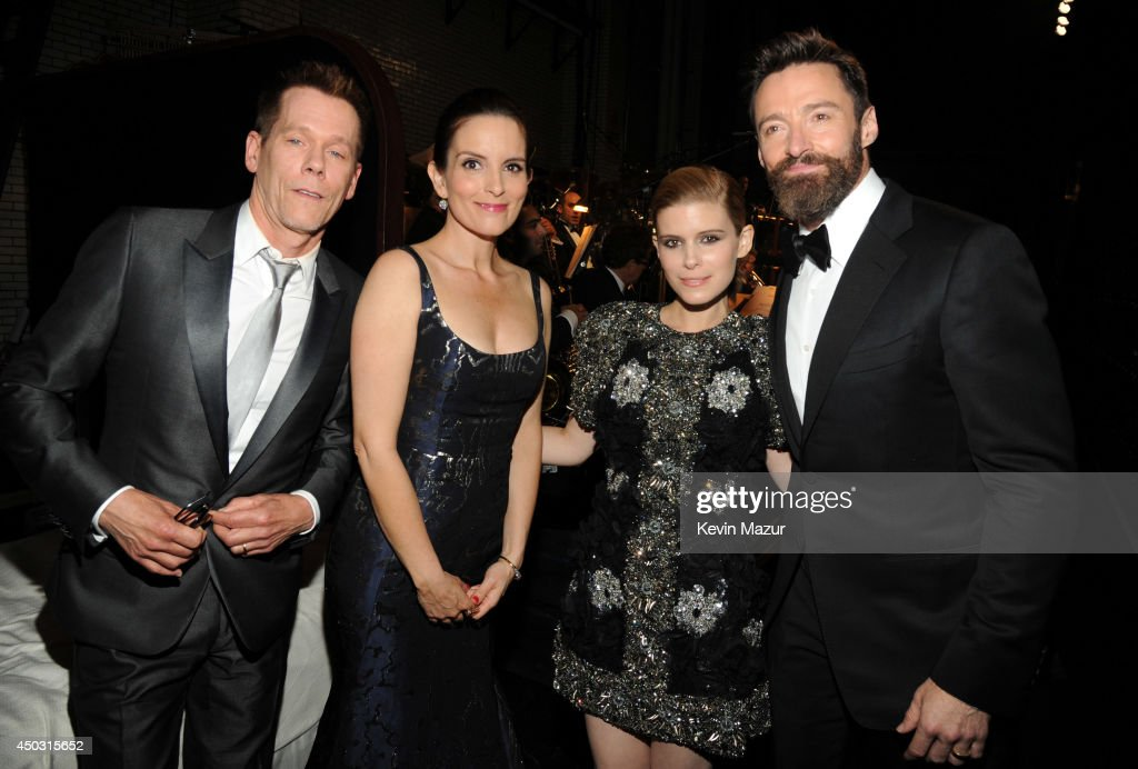 Kevin Bacon, Tina Fey, Kate Mara and Hugh Jackman attend the 68th Annual Tony Awards at Radio City Music Hall on June 8, 2014 in New York City.