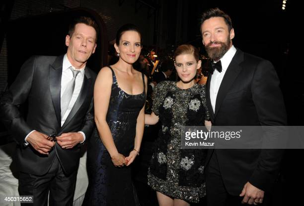 Kevin Bacon, Tina Fey, Kate Mara and Hugh Jackman attend the 68th Annual Tony Awards at Radio City Music Hall on June 8, 2014 in New York City.