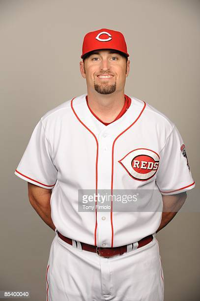 Kevin Barker of the Cincinnati Reds poses during Photo Day on Wednesday February 18 2009 at Ed Smith Stadium in Sarasota Florida