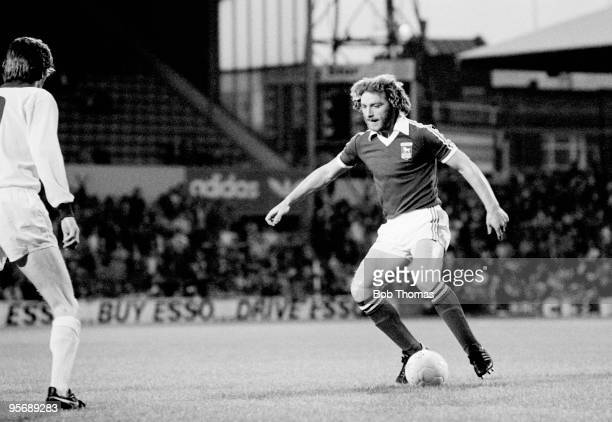 Kevin Beattie in action for Ipswich Town against Northampton Town in their League Cup 2nd round match at Portman Road in Ipswich 30th August 1977...