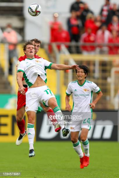 Kevin Behrens of Union Berlin in action during the DFB Cup first round match between Türkgücü Munich and 1. FC Union Berlin at Grünwalder Stadion in...