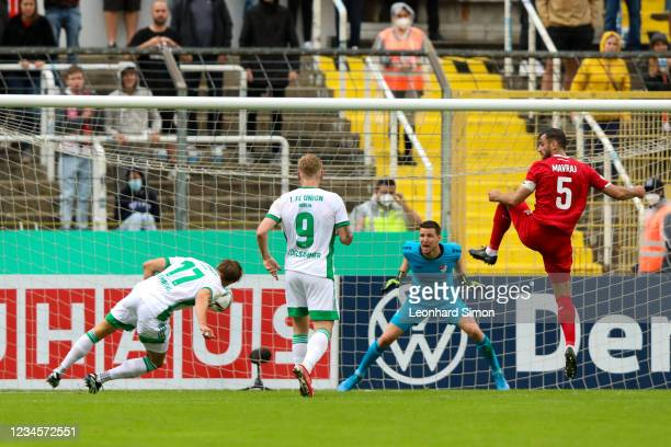 Kevin Behrens of Union Berlin scores a goal but it is disallowed for offside during the DFB Cup first round match between Türkgücü Munich and 1. FC...
