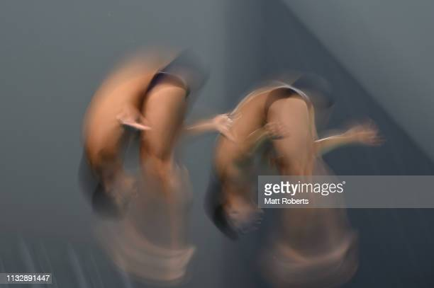 Kevin Berlin Reyes and Andres Villarreal Tudon of Mexico compete during the Men's 10m Platform Synchro Final on day one of the FINA Diving World Cup...