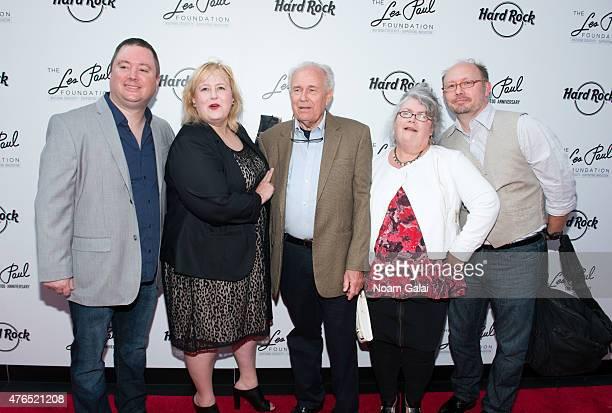 Kevin Bernier Betsy Brumley Bob Brumley Elaine Johnson and Brad Johnson attend Les Paul's 100th anniversary celebration at Hard Rock Cafe Times...