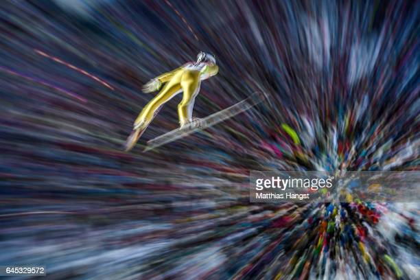 Kevin Bickner of the United States competes in the Men's Ski Jumping HS100 Final during the FIS Nordic World Ski Championships on February 25 2017 in...