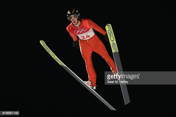 Kevin Bickner of the United States jumps during the Ski Jumping Men's Normal Hill Individual Final on day one of the PyeongChang 2018 Winter Olympic...
