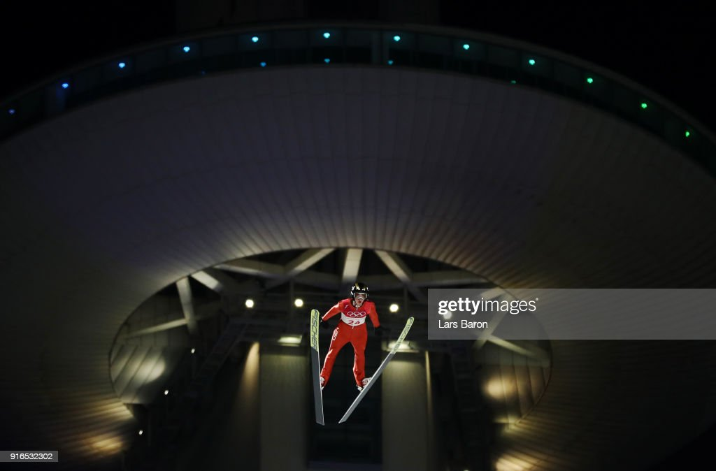 Kevin Bickner of the United States makes a jump during the Ski Jumping - Men's Normal Hill Individual Final on day one of the PyeongChang 2018 Winter Olympic Games at Alpensia Ski Jumping Center on February 10, 2018 in Pyeongchang-gun, South Korea.