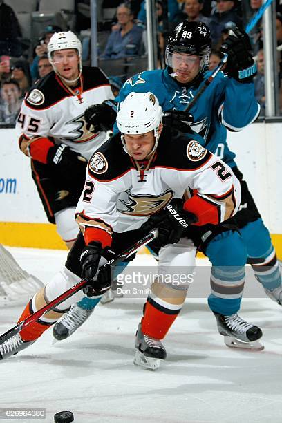 Kevin Bieksa of the Anaheim Ducks skates after the puck during a NHL game against the San Jose Sharks at SAP Center at San Jose on November 26, 2016...