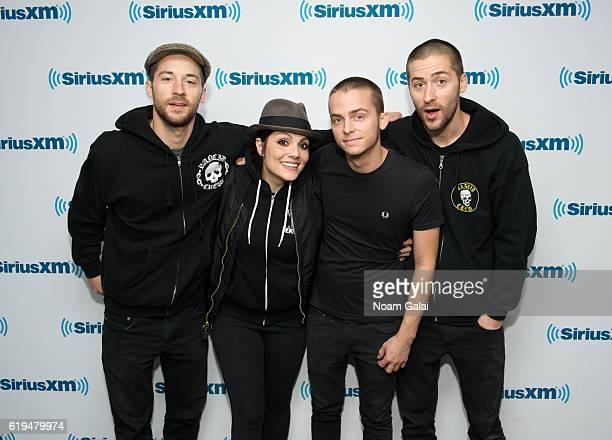 Kevin Bivona Aimee Allen Justin Bivona and Jesse Bivona of The Interrupters visit the SiriusXM Studio on October 31 2016 in New York City