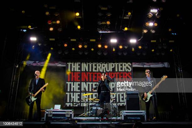 Kevin Bivona Aimee Interrupter and Justin Bivona of The Interrupters perform at the 77 Montreal Festival at Parc JeanDrapeau on July 27 2018 in...
