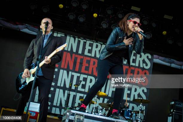 Kevin Bivona and Aimee Interrupter of The Interrupters perform at the 77 Montreal Festival at Parc JeanDrapeau on July 27 2018 in Montreal Canada
