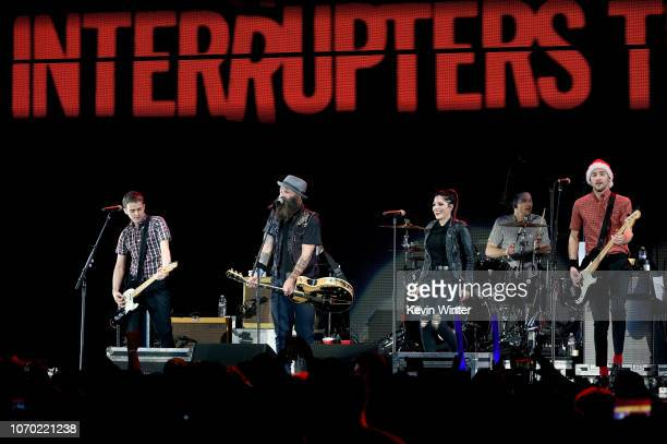 Kevin Bivona of the band The Interrupters Tim Armstrong of the band Rancid Aimee Allen Jesse Bivona and Justin Bivona of the band The Interrupters...