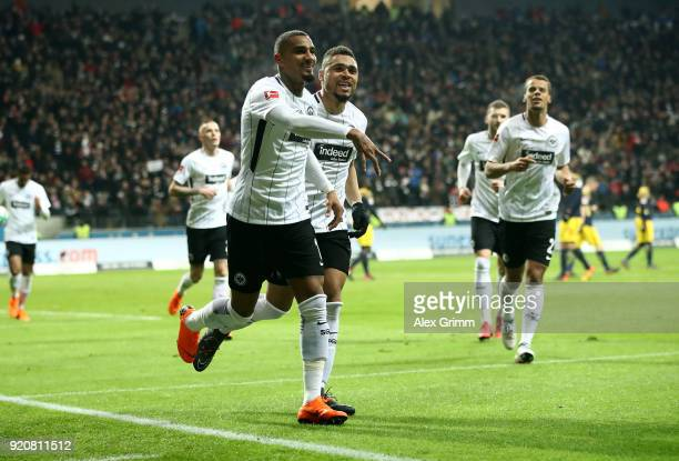 Kevin Boateng of Frankfurt celebrate a goal with team mate Sebastien Haller during the Bundesliga match between Eintracht Frankfurt and RB Leipzig at...