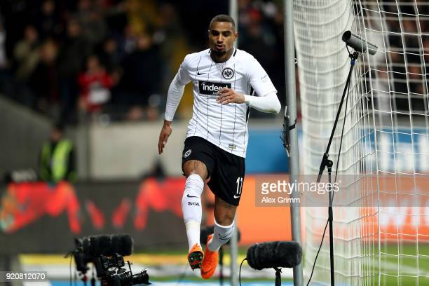 Kevin Boateng of Frankfurt celebrates after he scores the 2nd goal during the Bundesliga match between Eintracht Frankfurt and RB Leipzig at...