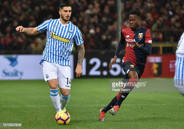 Kevin Bolifazi of Spal and Christian Kouamé of Genoa during the Serie A match between Genoa CFC and SPAL at Stadio Luigi Ferraris on December 9 2018...