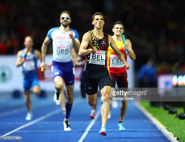 Kevin Borlee of Belgium competes in the Men's 4 x 400m Relay Final during day five of the 24th European Athletics Championships at Olympiastadion on...