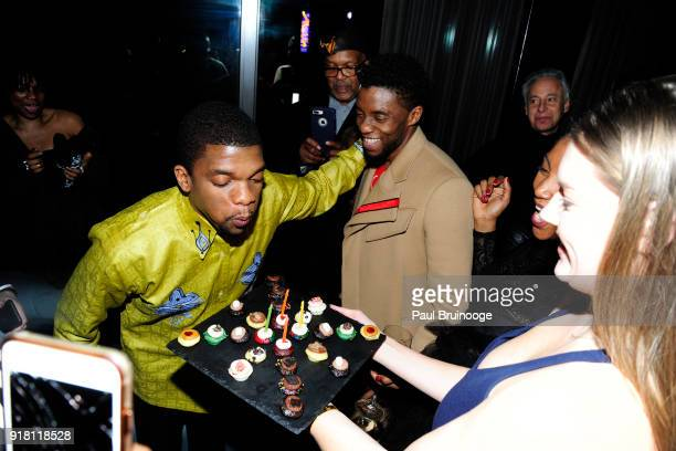 Kevin Boseman and Chadwick Boseman attend The Cinema Society with Ravage Wines Synchrony host the after party for Marvel Studios' 'Black Panther' at...
