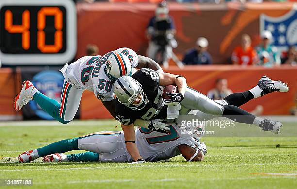 Kevin Boss of the Oakland Raiders is tackled by Marvin Mitchell and Yeremiah Bell of the Miami Dolphins during a game at Sun Life Stadium on December...