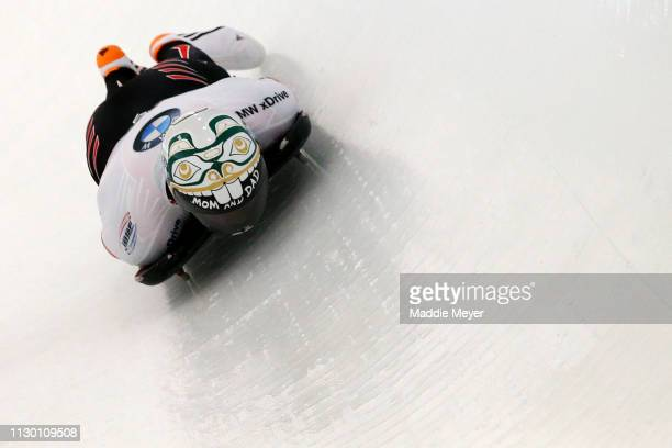 Kevin Boyer of Canada slides ring the first run of the Men's Skeleton on day 2 of the 2019 IBSF World Cup Bobsled & Skeleton at the Mount Van...