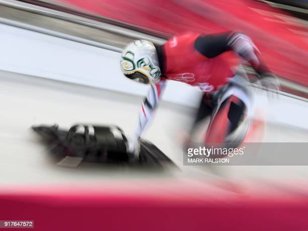 Kevin Boyer of Canada starts his mens skeleton training session at the Olympic Sliding Centre during the Pyeongchang 2018 Winter Olympic Games in...