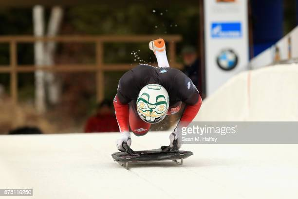 Kevin Boyer of Canada takes a training run in the Men's Skeleton during the BMW IBSF Bobsleigh + Skeleton World Cup at Utah Olympic Park November 16,...