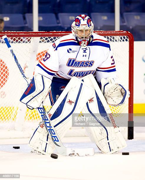 Kevin Boyle of the Massachusetts Lowell River Hawks tends goal before NCAA exhibition hockey against the St. Thomas University Tommies at the Tsongas...