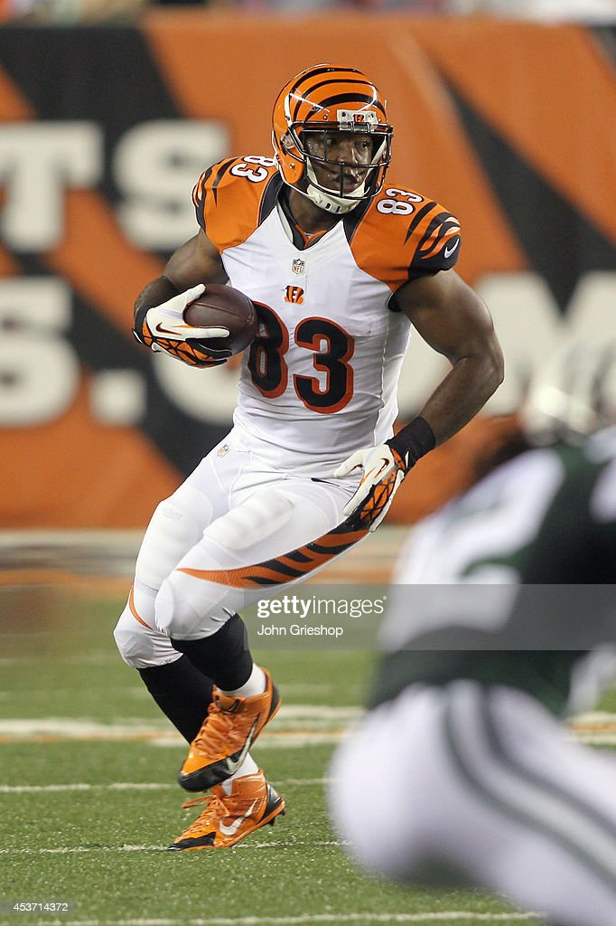 Kevin Brock #83 of the Cincinnati Bengals runs the football upfield during the game against the New York Jets at Paul Brown Stadium on August 16, 2014 in Cincinnati, Ohio. The Jets defeated the Bengals 25-17.