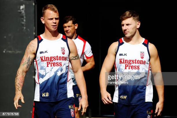 Kevin Brown and George Williams arrive for the England Rugby League World Cup Semi Final Captain's Run at Mt Smart Stadium on November 24 2017 in...