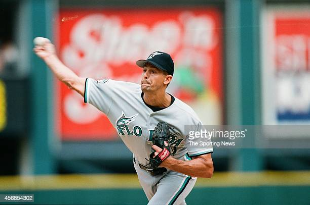 Kevin Brown of the Florida Marlins pitches against the St Louis Cardinals at Busch Stadium on July 27 1997 in St Louis Missouri