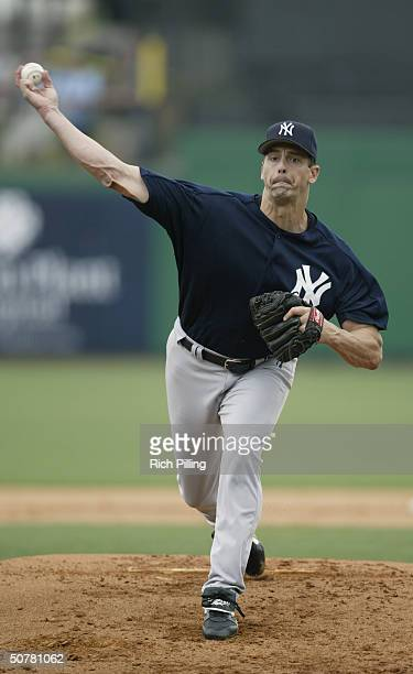 Kevin Brown of the New York Yankees pitching at Bright House Networks Field on March 15, 2004 in Clearwater, FL. .
