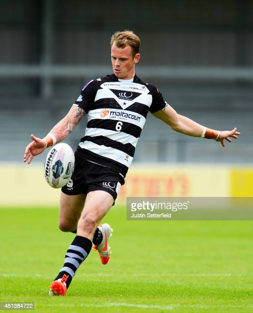 kevin Brown of Widness Vikings attemps a drop kick during the Super League match between London Broncos and Widnes Vikings at The Hive on June 28...