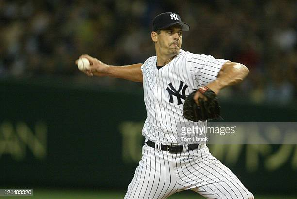Kevin Brown starting pitcher of the New York Yankees The New York Yankees defeat the Tampa Bay Devil Rays 121 at the Tokyo Dome in Tokyo Japan