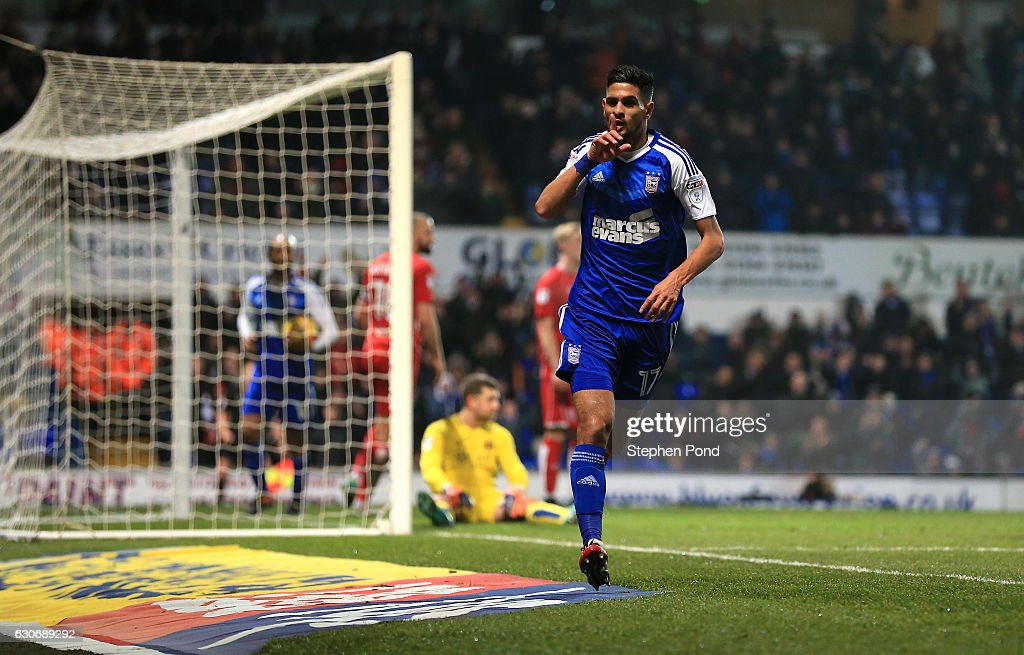 Kevin Bru of Ipswich Town celebrates scoring the opening goal during the Sky Bet Championship match between Ipswich Town and Bristol City at Portman Road on December 30, 2016 in Ipswich, England.
